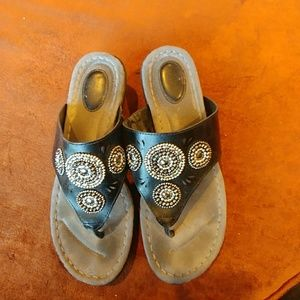 Sense n sensibility black leather flip flop