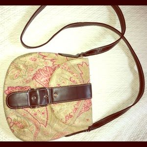 Liz Claiborne tan suede crossbody bag