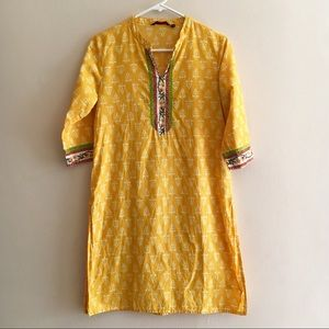 Bright yellow printed Indian cotton kurta medium