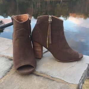 Brown booties- Worn once!!