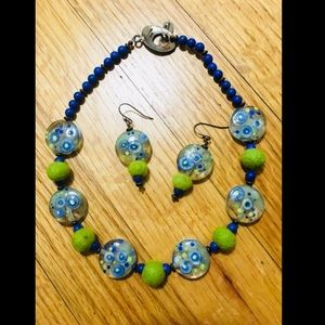 Wool and Glass Bead Necklace