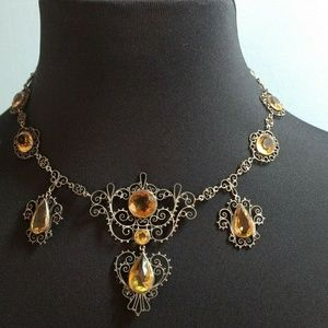 ✴️Vtg. Art Deco Filigree Czech Glass Necklace