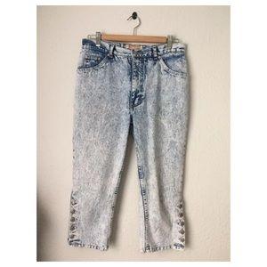 Vintage Jordache Acid Wash 80s Jeans- Cropped