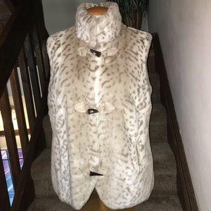 Coldwater Creek Plus Faux Fur Vest