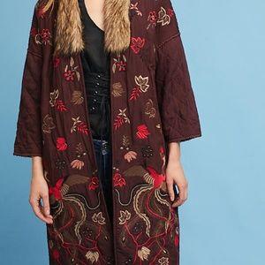 Jackets & Blazers - NWT   Aiza Embroidered Coat fur collar Bl-nk s/m
