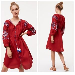 LOFT Bohemia Shirtdress in Red
