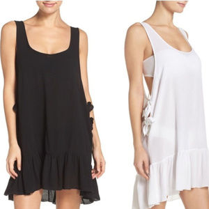 Elan Side Tie Cover-Up mini Dress tinuc black