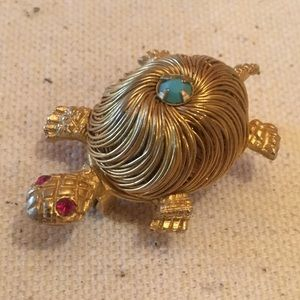 Vintage 1960 Gold Wire Blue & Red Stone Turtle Pin