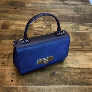 Michael Kors Callie navy leather crossbody satchel