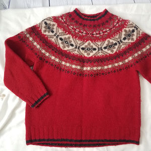 Eddie Bauer fair isle red wool sweater mock neck M