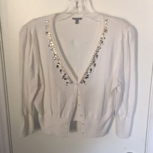 Cream sequin embellished cropped sweater
