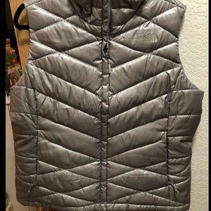 Gray/Silver North Face Vest
