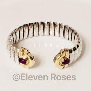 Jewelry - Vintage Sterling & 18k Gold Amethyst Cuff Bracelet