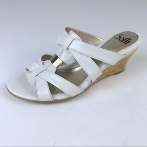 Like New! Sofft White Slide Wedge Sandals Size 8