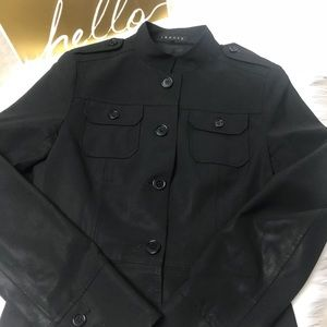 THEORY Black Structured Jacket Military Style Sz 6