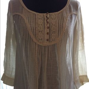 Cream Peasant Blouse by Floreat