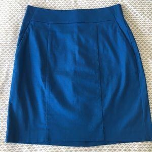 Ann Taylor blue pencil skirt with pockets