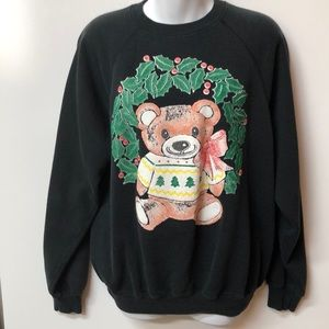 '80s Vintage Christmas Teddy Bear 🐻 Sweatshirt