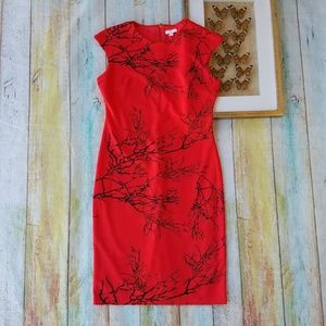 New York & Company Red Stretch Sheath Dress XL