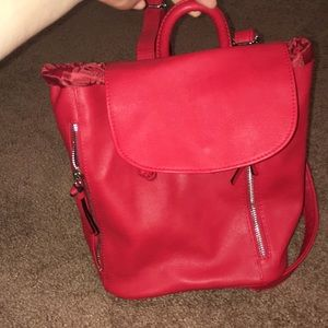 red backpack purse