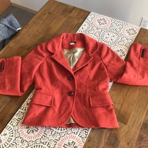J Crew Size 0 Blazer Jacket 100% Burnt Orange Wool