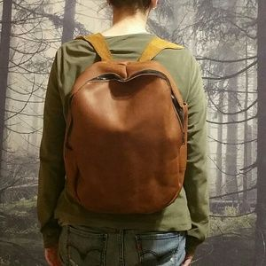 Vintage Handmade thick full grain leather backpack