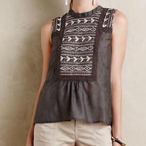 ANTHROPOLOGIE Tiny Embroidered Peasant Top