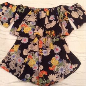 Black & Floral Romper Medium