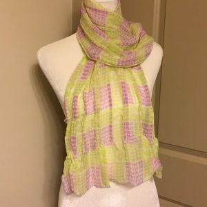 Gorgeous apple green and lilac silk scarf