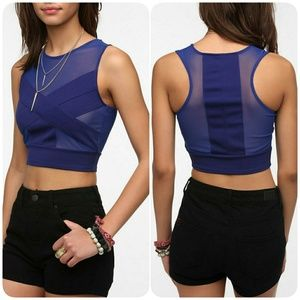 Urban outfitters blue sheer illusions crop top