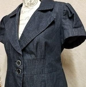 † Harve B Button Front Jean Grey Blazer Blouse