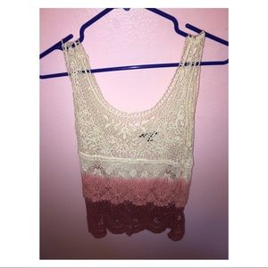 American Eagle crochet ombré pink/red tank top