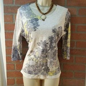 Coldwater Creek women shirt Sz 14 L 3/4 sleeve