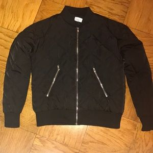 Quilted puffer bomber