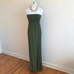 F21 Olive Green Strapless Maxi Dress {PK}