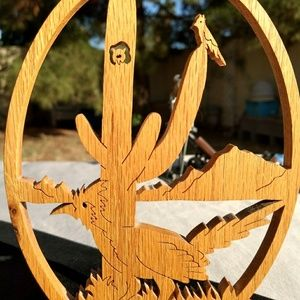 Other - Signed vintage hand carved wood Arizona setting