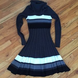 Calvin Klein Striped Gray Turtleneck Sweater Dress