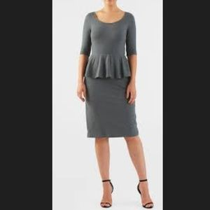 New Eshakti Gray Peplum Pencil Dress 18W
