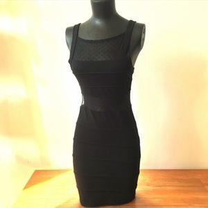 Black Bodicon Dress with Lace Detail
