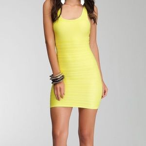 Neon Yellow Bebe Bodycon Dress