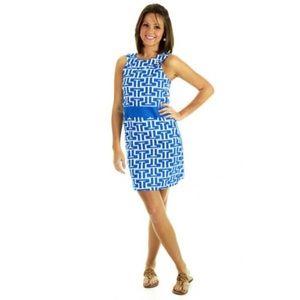 Steffi Shift Dress In Royal Blue/White