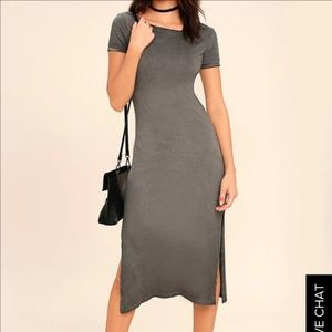 Washed Grey Backless Midi Dress