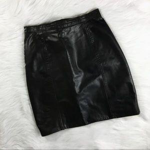 Vintage 80s Black 100% Leather High Waisted Skirt