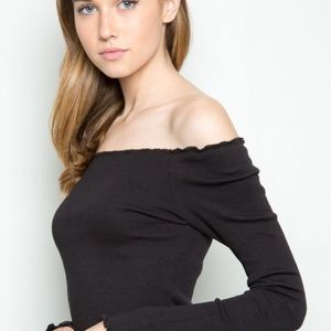 Brandy Melville Black Off The Shoulder Long Sleeve