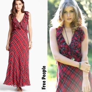 "Free People Red Plaid ""Venetia"" Maxi Dress,"