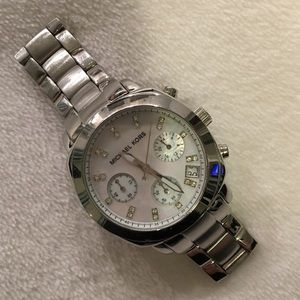 Michael Kors Silver Watch with Diamond Detail