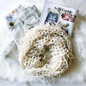Cream Knit Fringe Infinity Scarf