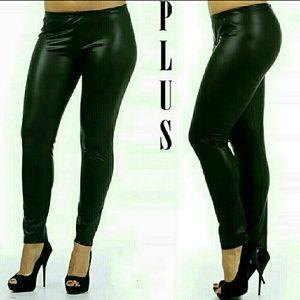 Plus Size Faux Leather Leggings