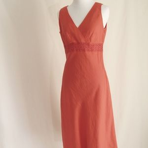 Linen Blend Dress with crochet band EUC