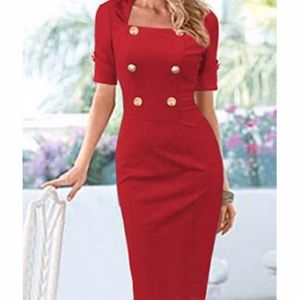 Red button detail elegant dress